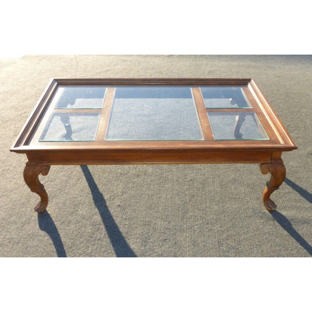 Glass Wooden Coffee Tables: Vintage French Country Glass Top Wooden Coffee Table