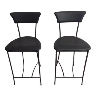 Black Leatherette Counter Height Chairs - A Pair