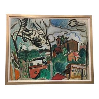 Mid-Century Modern Oil Painting of Italian Village