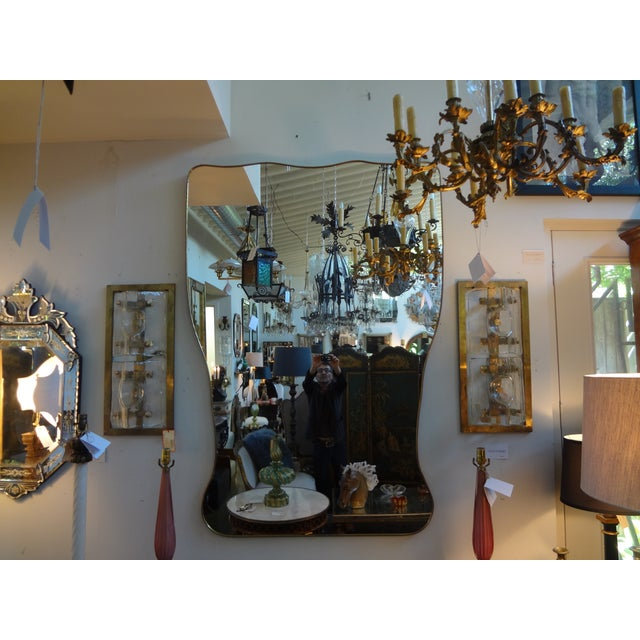 Italian Gio Ponti Inspired Brass Mirror - Image 6 of 7