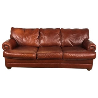 Walter E. Smithe Red Leather Sofa