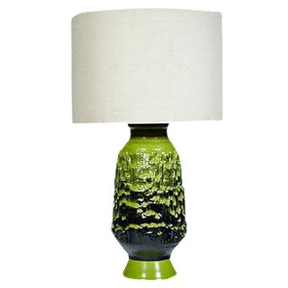 1960s Green Ceramic Textured Table Lamp