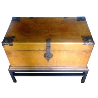 Leather Chest on Wrought Iron Stand