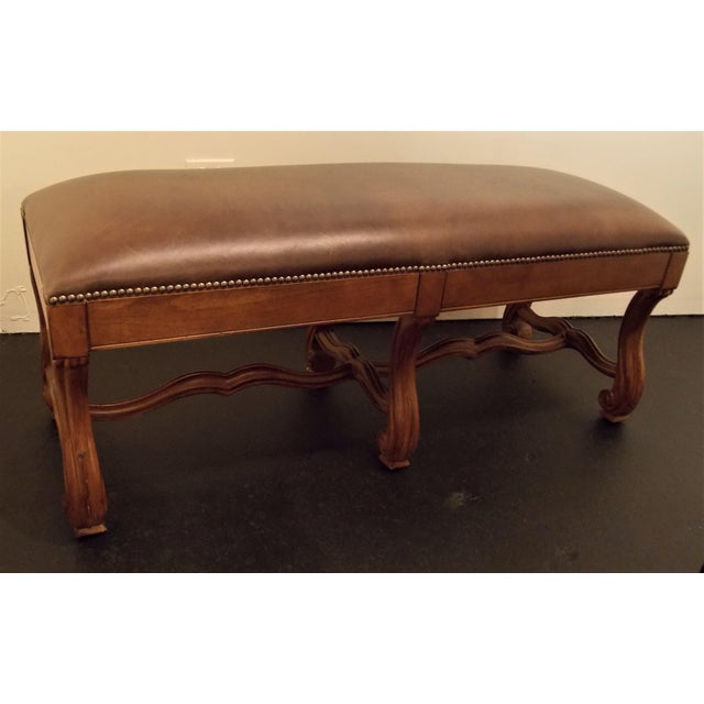 Wood and Leather Bench - Image 4 of 8