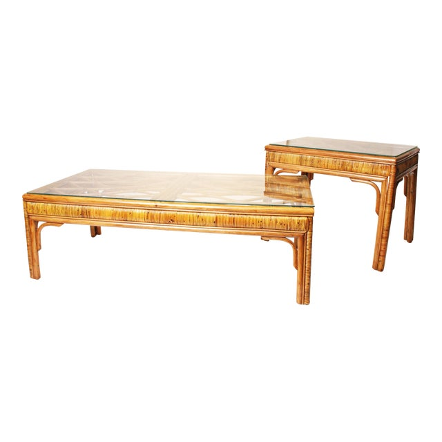 Image of Mid-Century Bamboo Side & Coffee Tables - A Pair