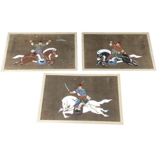 Antique Korean Silk Paintings - Set of 3