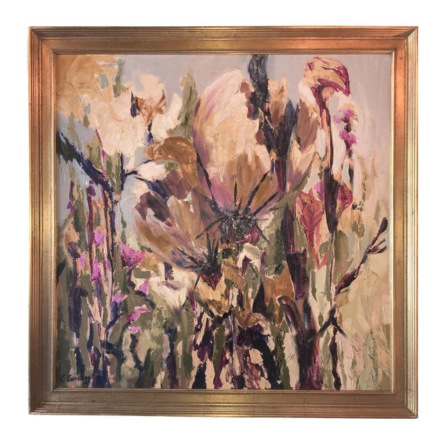Vintage Floral Oil Painting - Image 1 of 5