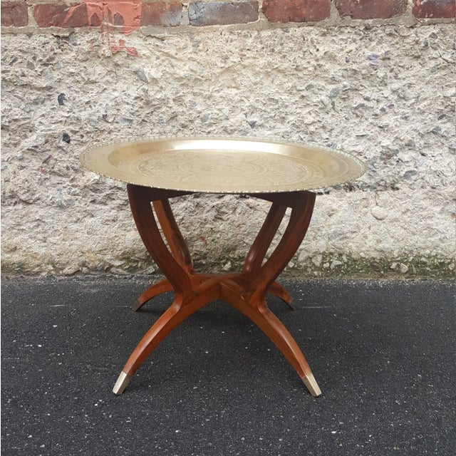 Vintage 1950's Chinoiserie Moroccan Brass Table - Image 2 of 4