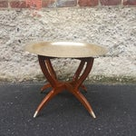 Image of Vintage 1950's Chinoiserie Moroccan Brass Table