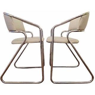 Italian Chrome Modernist Chairs - A Pair