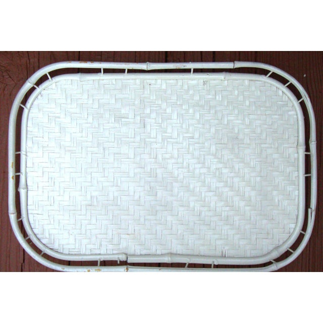 Hollywood Regency White Bamboo Rattan Trays - Image 8 of 11