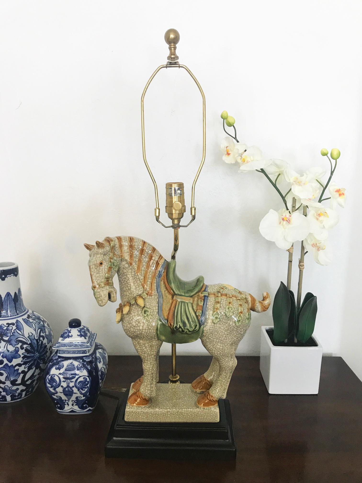 Chinoiserie Asian Style Ceramic War Horse Table L& - Image 2 of 6  sc 1 st  Chairish & Chinoiserie Asian Style Ceramic War Horse Table Lamp | Chairish azcodes.com