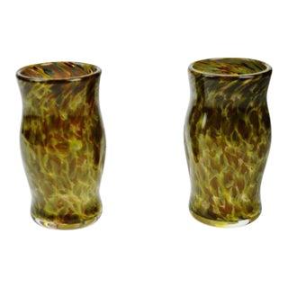 Hand-Blown Art Glass Mugs - A Pair