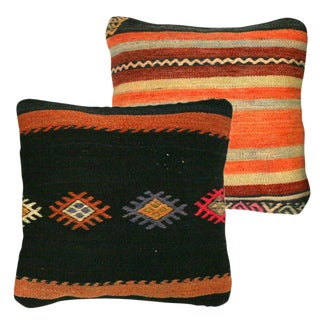 Rug & Relic Black & Orange Kilim Pillows - A Pair
