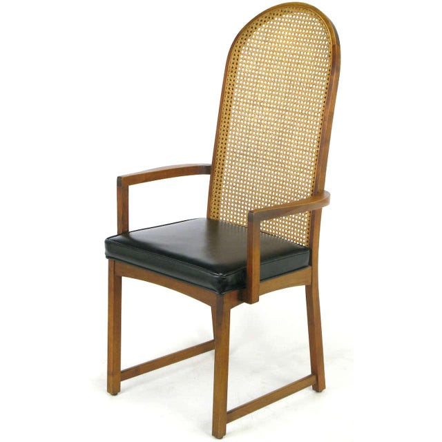 Four Milo Baughman Walnut & Cane Arch-Back Dining Chairs - Image 7 of 9