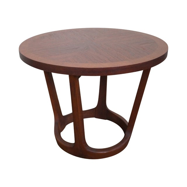 Lane Mid-Century Modern Round Walnut Side Table - Image 1 of 10