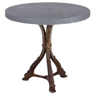 French Art Nouveau Period Iron Pedestal Table with Concrete Top, 1910s