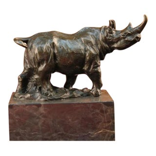 Rhino Bronze & Marble Sculpture