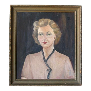 1940s Woman Oil on Board Painting