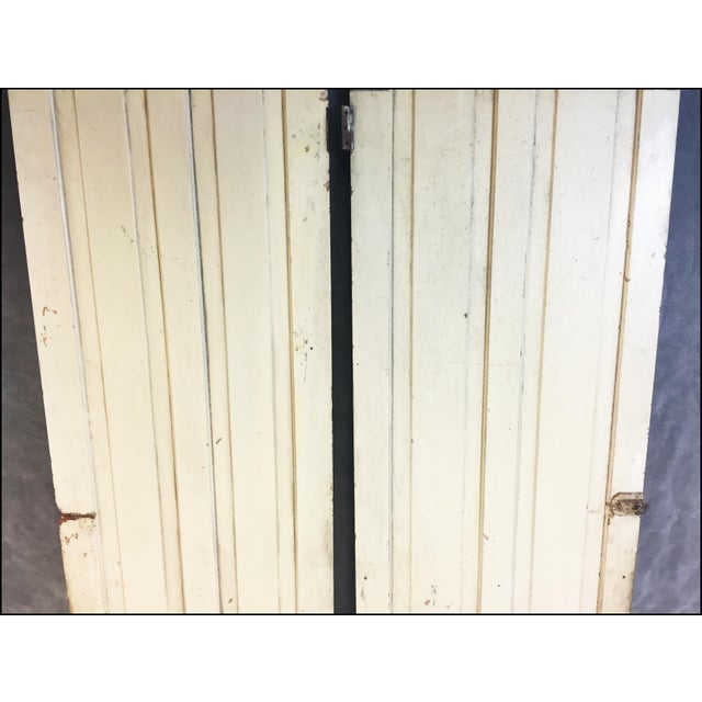 Vintage Rustic Yellow Milk Painted Cabinet Doors - A Pair - Image 8 of 11