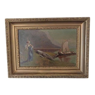 Antique 1850's Oil Painting French Pastoral Scene Am Watrous