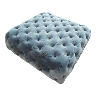 Pacific Teal Velvet Diamond Tufted Ottoman