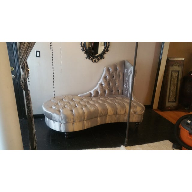 Silver Tufted Chaise Lounge - Image 4 of 5