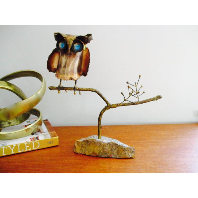 """Image of """"Owl on Branch,"""" Early Sculpture by Curtis Jere"""