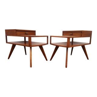 Mid-Century Modern Three Tier Walnut Side Tables - A Pair