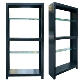 Contemporary Black Lacquered Book Case - a Pair