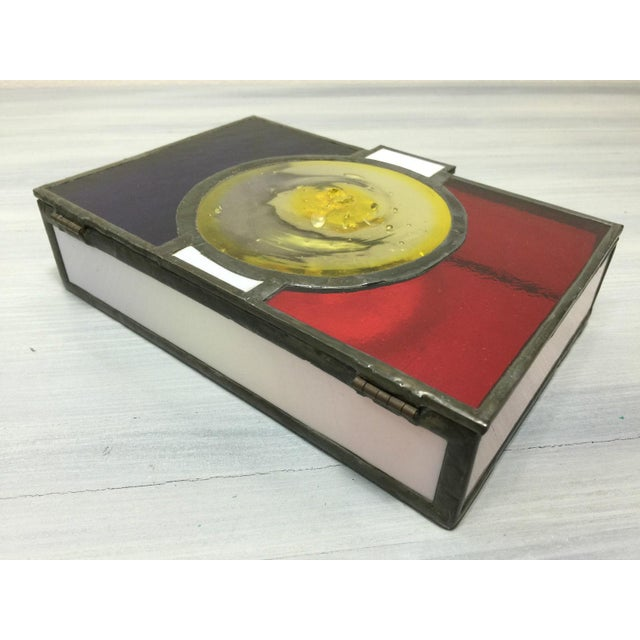 Vintage Mondrian Colored Blown Glass Box - Image 4 of 9