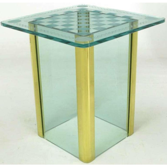 Elegant Etched Glass Game Table In The Style Of Pace Collection - Image 2 of 8