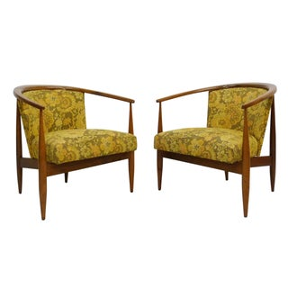 MCM Walnut Frame Barrel Lounge Chairs - A Pair