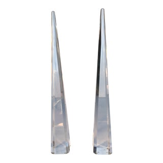 Vintage Multi-Faceted Lucite Obelisks - A Pair