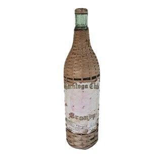 Antique Wicker Wrapped Green Glass Brandy Bottle Demijohn