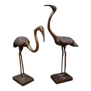 A Pair of Chinese Bronze Cranes