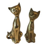 Image of Siamese Brass Cats - A Pair