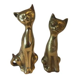 Siamese Brass Cats - A Pair
