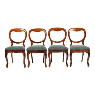1850s English Victorian Balloon Back Chairs - Set of 4