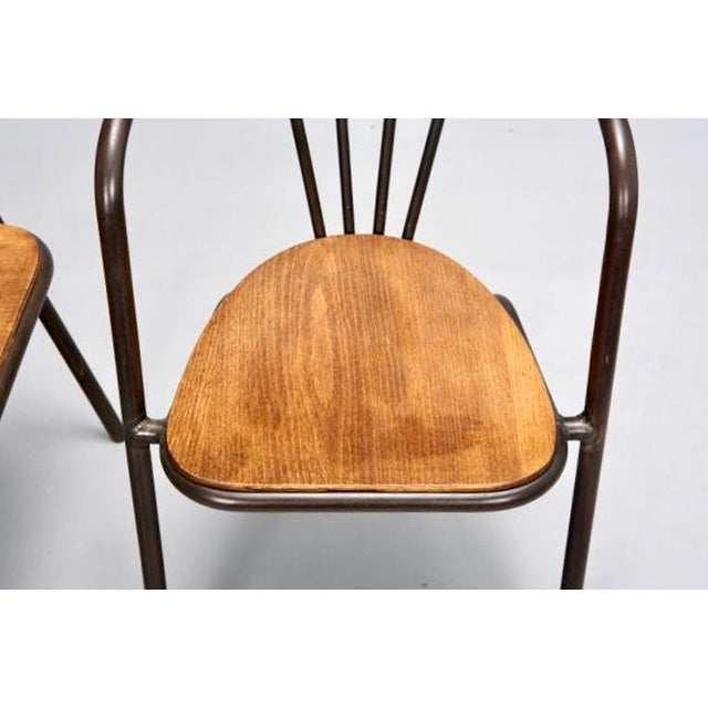 Set of 6 Mid Century Metal & Wood Armchairs - Image 7 of 7