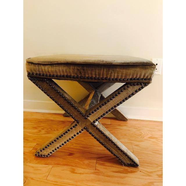 Safavieh Velvet Palmer X Bench, Pair (2 Benches/Stools) - Image 7 of 7