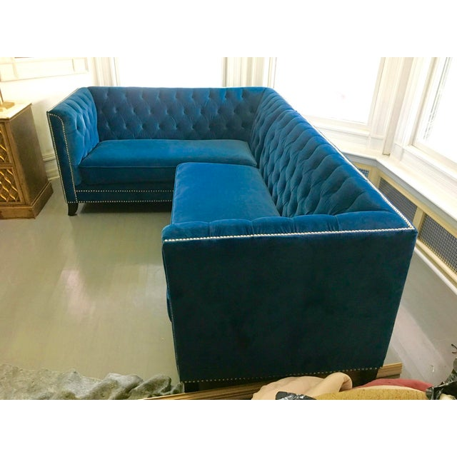 Blue Velvet Pasargard Victorian Sectional - Image 3 of 5