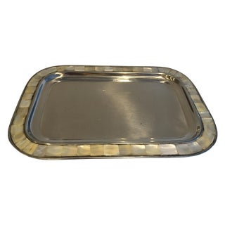 Mother-Of-Pearl Inlaid Silver-Plate Jewelry Tray