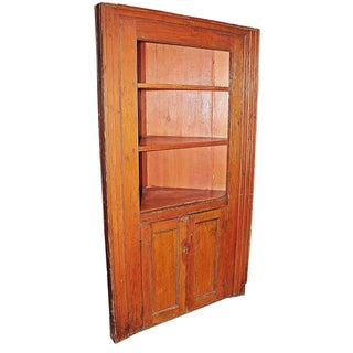 Antique Rustic Country Corner Cupboard