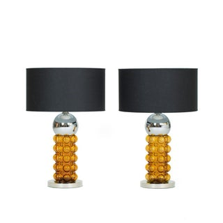 Vintage 1960s Chrome & Amber Table Lamps - A Pair