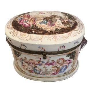 Capodimonte Ram's Heads Vanity Box