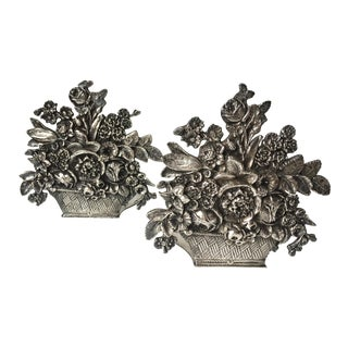 Antique Silver Flower Basket Bookends - A Pair