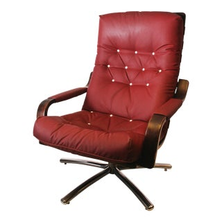 Mid Century Modern Burgundy Stressless Lounge Chair