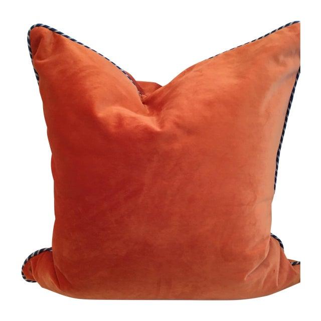 Melon Orange Silky Velvet Pillows - Pair - Image 1 of 4