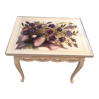 Vintage White & Purple Flowers Coffee Table